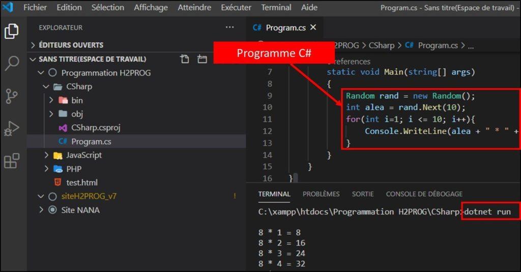 Programme CSharp pseudo code au programme