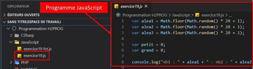 pseudo code au programme JS