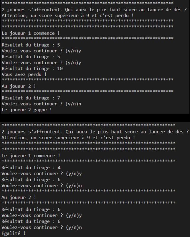 exemple après programmation de l'algorithme du jeu de dés